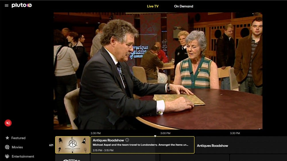 A screenshot of 'Antiques Roadshow' on Pluto TV.