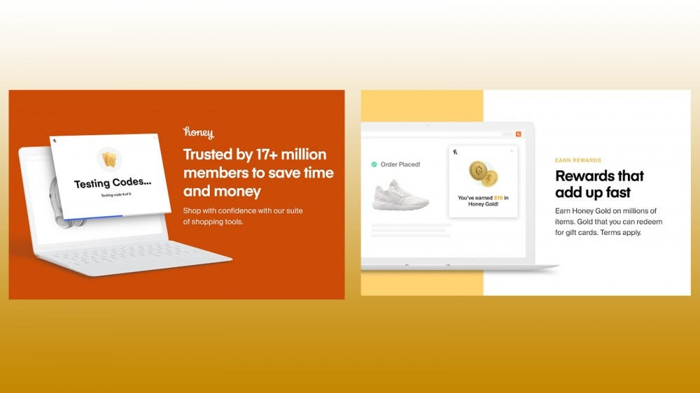 Screenshots of Honey Chrome browser extension to save money and earn rewards