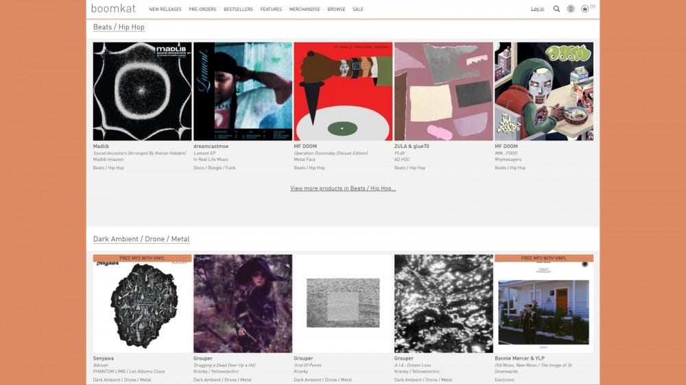 Boomkat home page with genre-specific album options