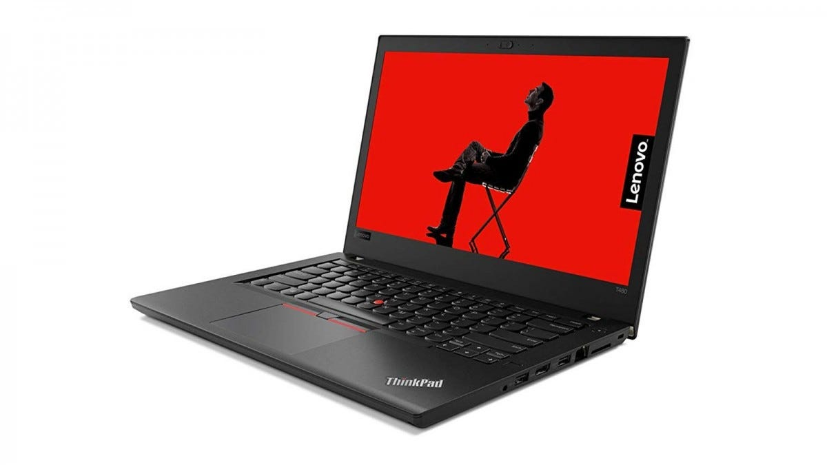 The Lenovo Thinkpad Edge E480 open with the screen showing.