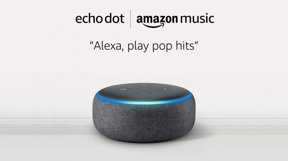 A photo of the Amazon Echo Dot.