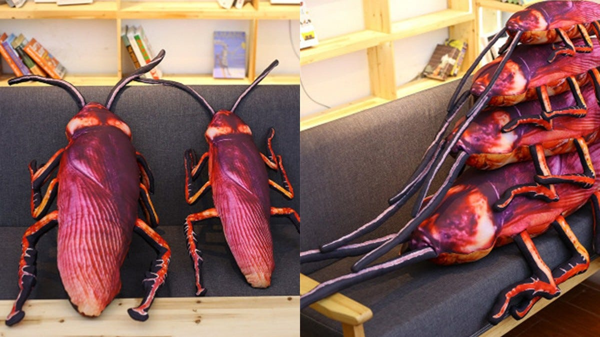 Two cockroach pillows sitting on a futon in one image, and four stacked on top of one another on the futon in the other image.