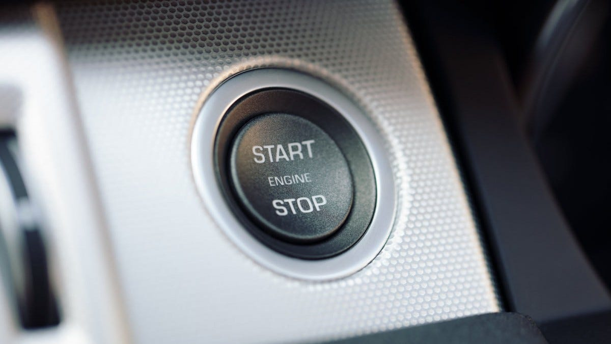 A start and stop button for a hybrid car.