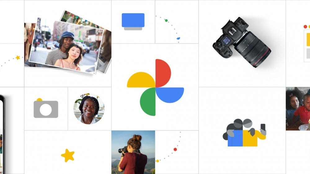 A Canon camera next to the Google Photos logo and some pictures.