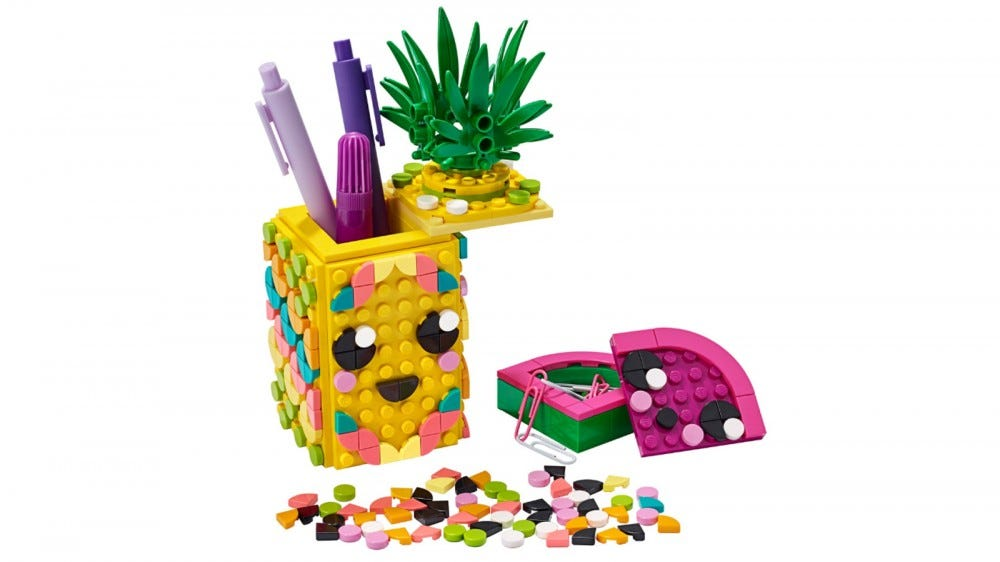 LEGO DOTS Pineapple Pencil Holder 351-piece LEGO set that looks like a cute pineapple