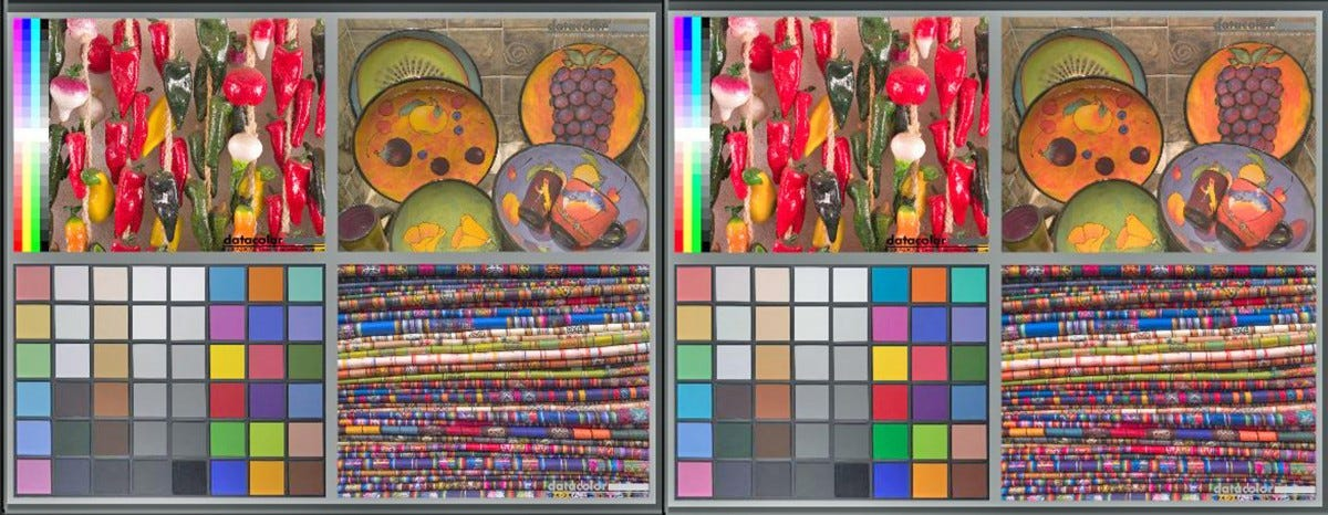 Two images of four colorful photos grouped together---the colors in the images on the right are noticeably brighter.