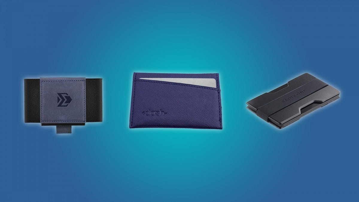 The Dash Premium Slim Wallet, the VBAX slim wallet, and the RADIX One slim wallet.