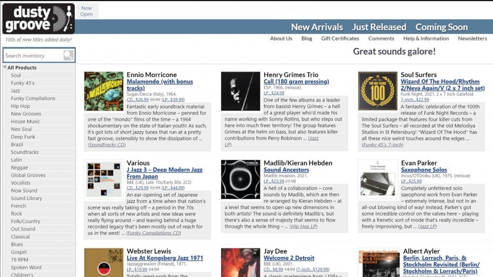 DustyGrooves home page with curated vinyl selections