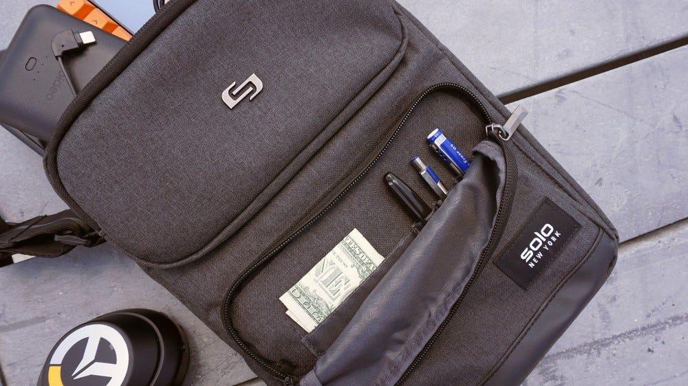 Ludlow tablet sling front organizer pocket