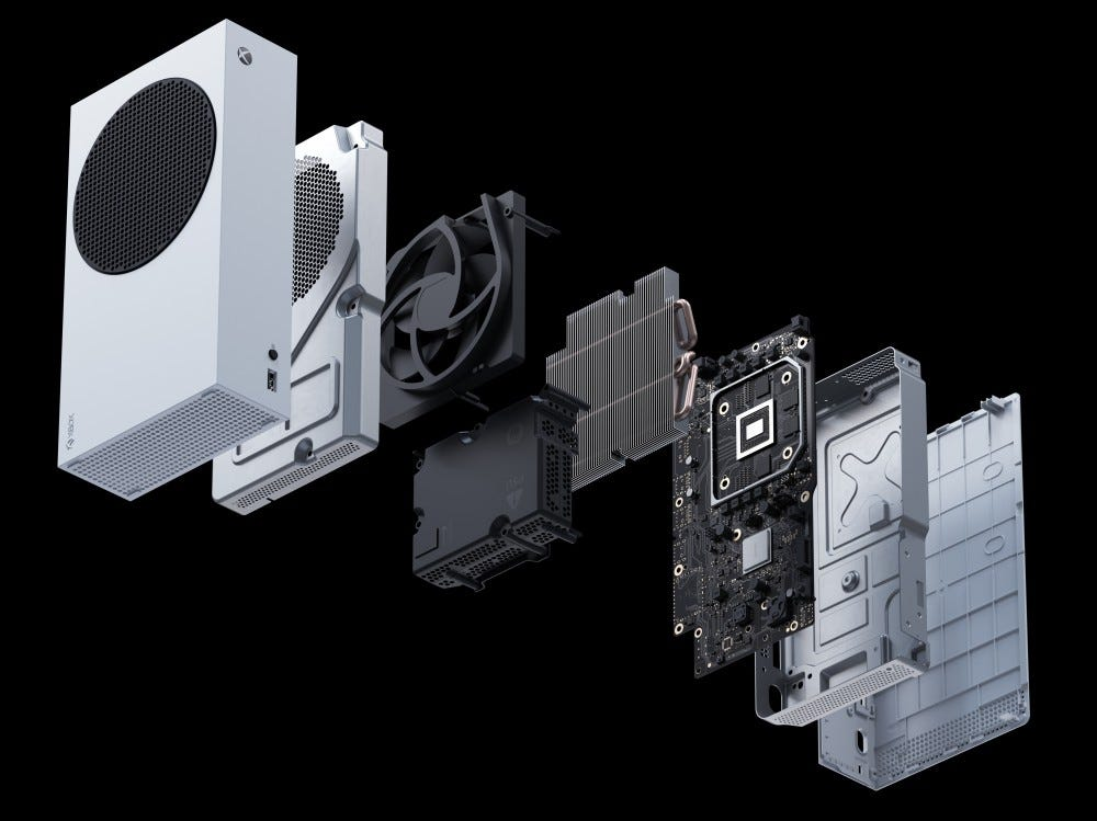 Xbox Series S exploded view.