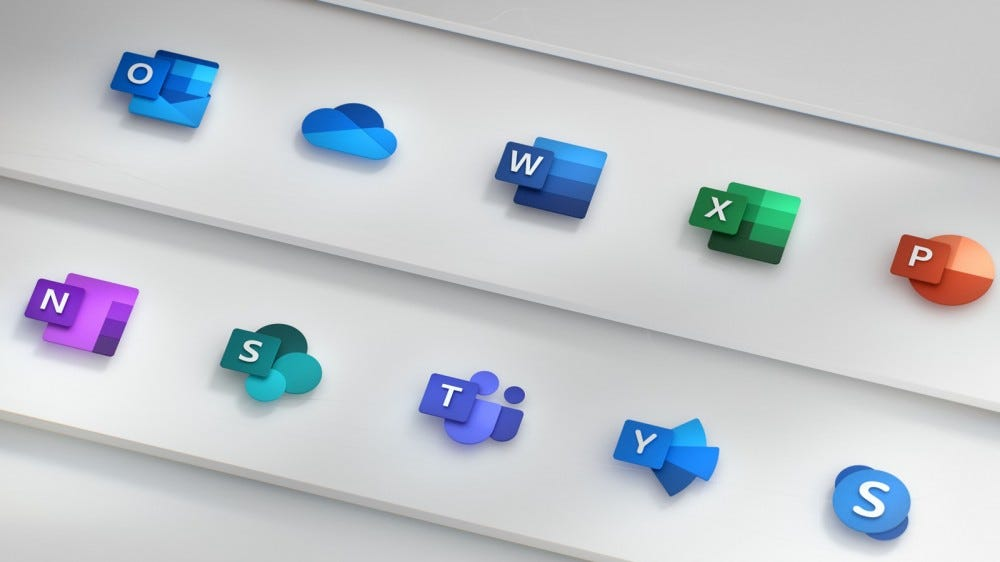 Логотипы для Outlook, Word, Excel, Powerpoint и другого программного обеспечения Microsoft.