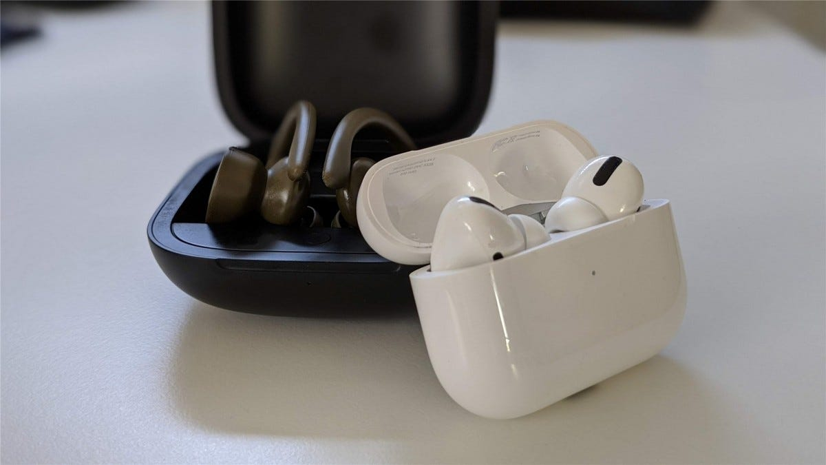 The Beat Powerbeats Pro next to the Apple AirPods Pro