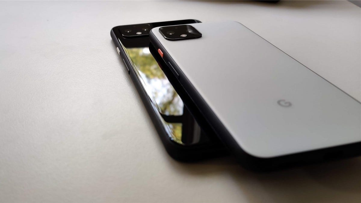 Pixel 4 on top of the Pixel 4 XL