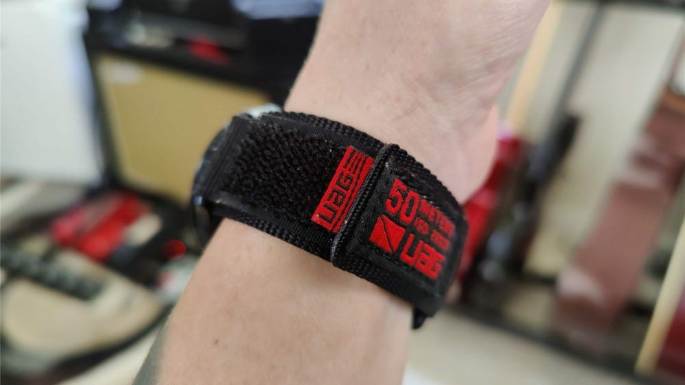 The side of the UAG Active band, showing the hook and loop closure