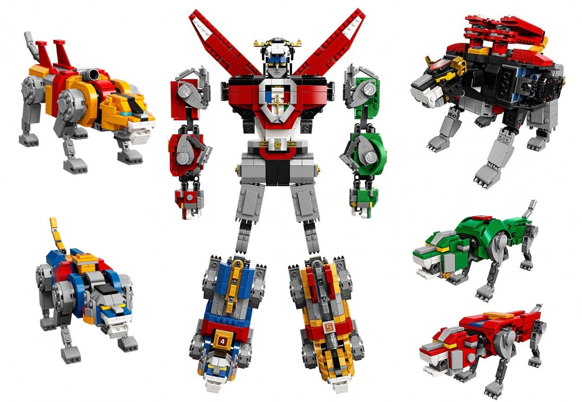 The LEGO Voltron set, in its combined and separate forms.