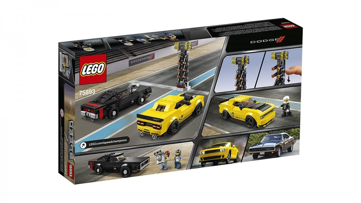 LEGO set featuring a 2018 Dodge Challenger SRT Demon and a 1970 Dodge Charger R/T