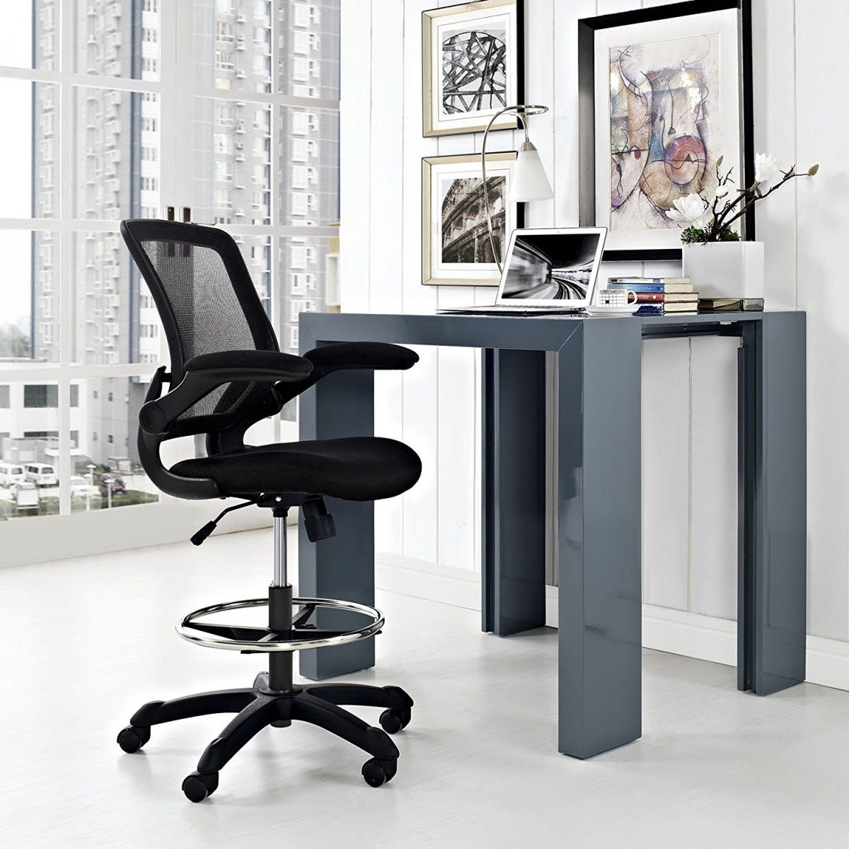 standing desk, stool, standing chair, modway, fixed desk,