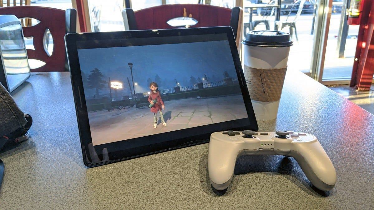 Gylt, running on a Chrome OS tablet via Stadia.