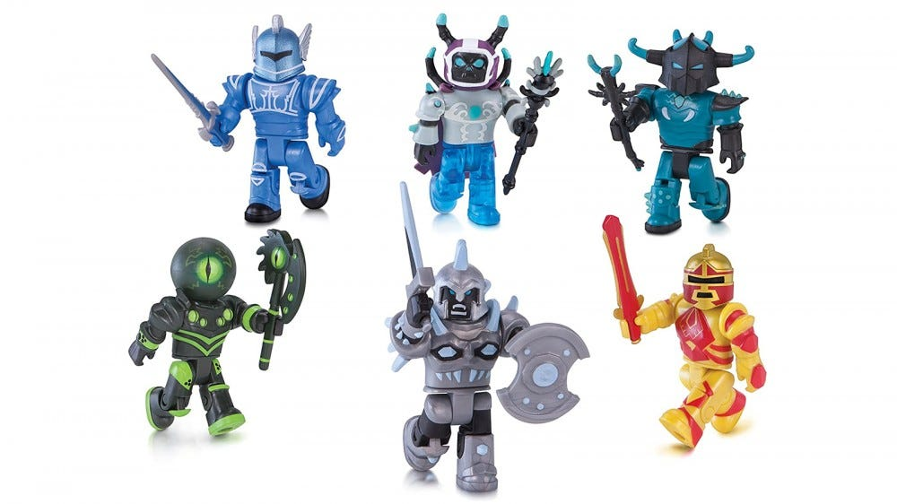 "The six ""Roblox"" action figures in the Champions of Roblox Pack."