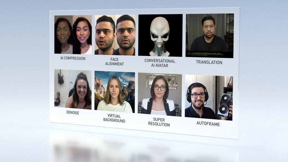 A group of video callers, including a digital alien.