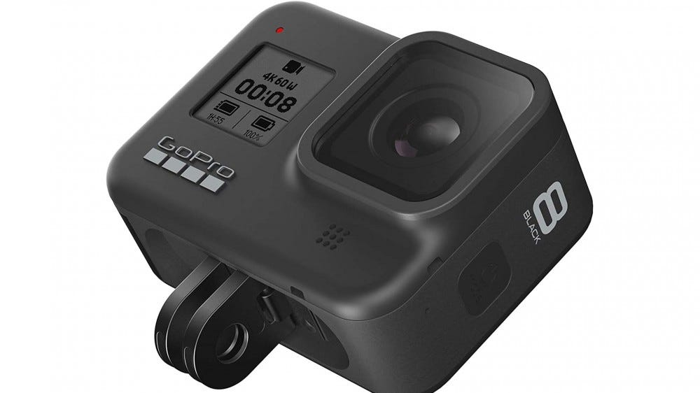 A photo of the GoPro HERO8 Black action cam.