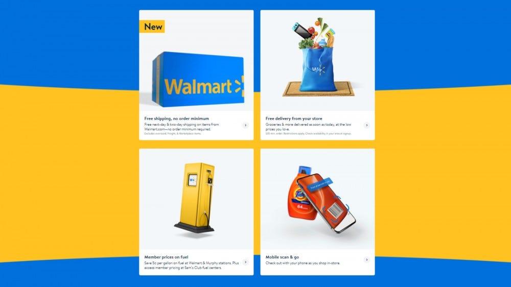 Walmart + céloldal, az összes felsorolt előnnyel