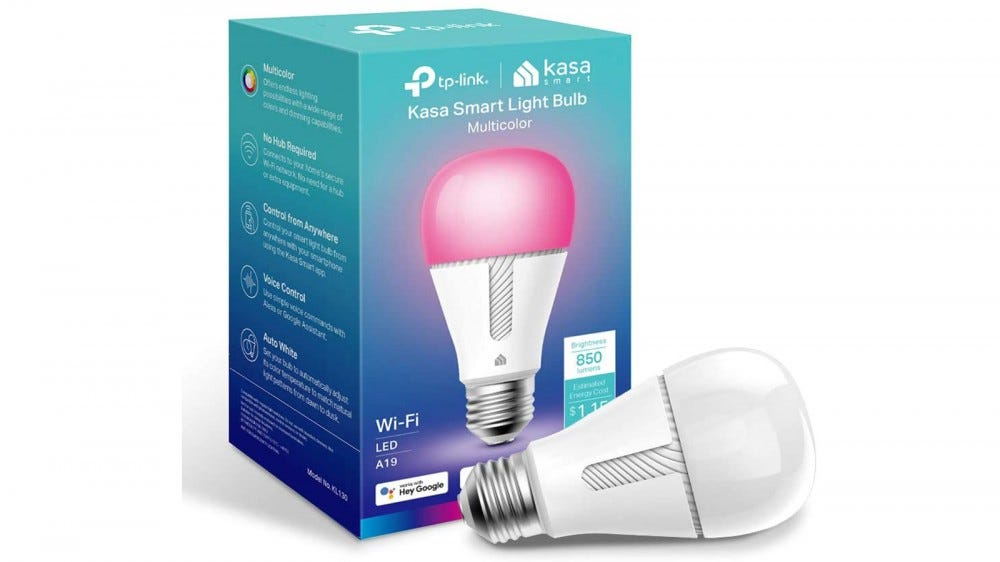 Kasa LED Multicolor Smart Bulb next to its packaging