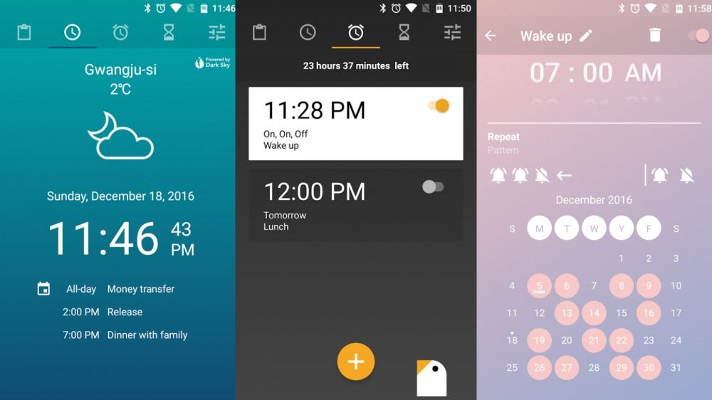 Screenshots of Early Bird Alarm Clock in a collage