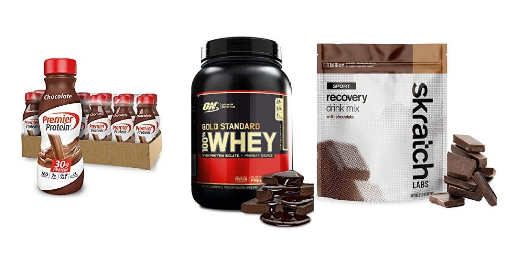 Premier Protein Shake, Gold Standard Whey Protien, Skratch Labs Recovery Drink