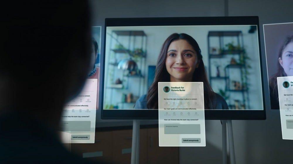 A digital feedback form in a video call.