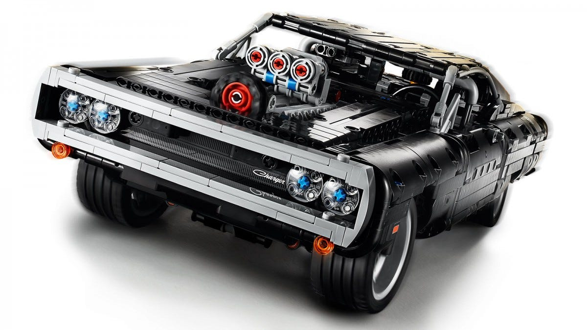 A closeup of a LEGO Dodge Charger