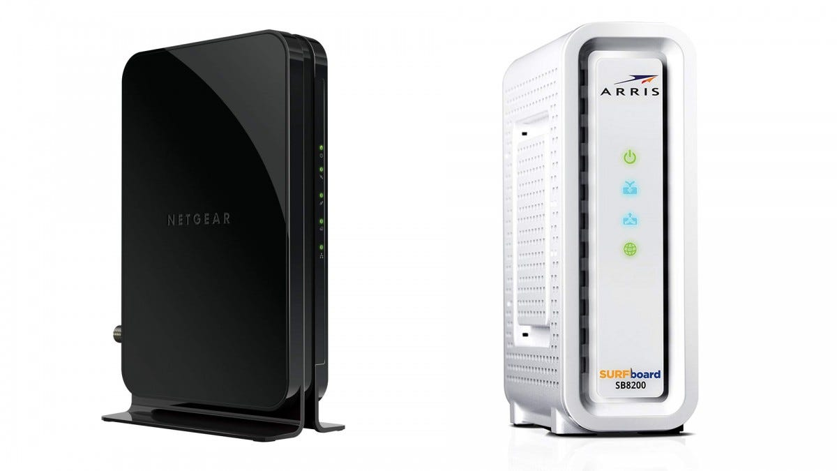 The NETGEAR and ARRIS SURFBOARD cable modems.