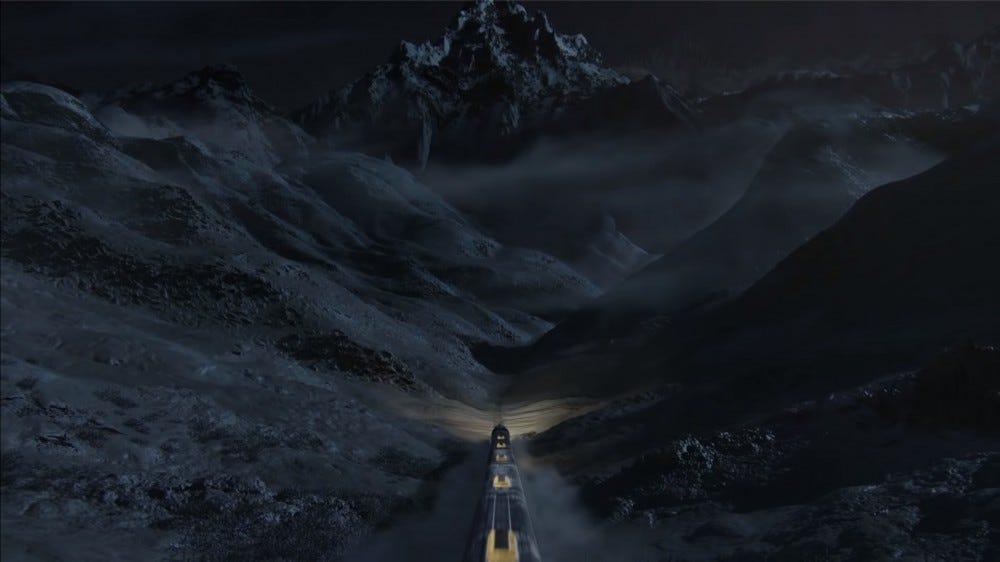 O Snowpiercer cortando a tundra congelada que é o mundo