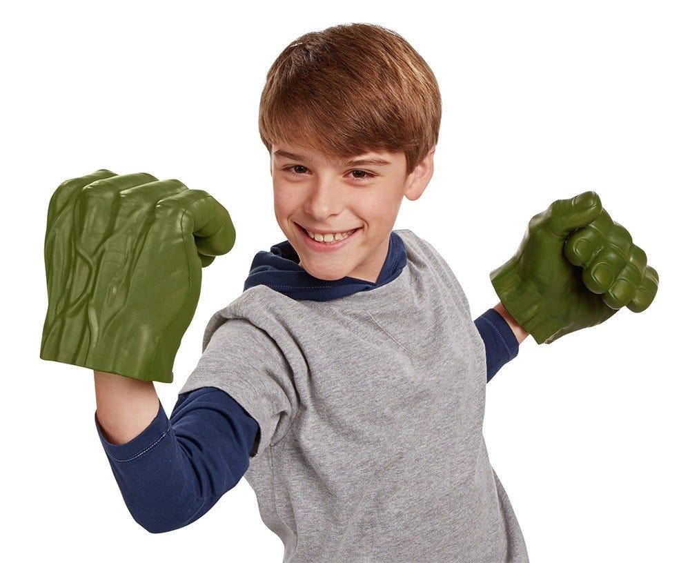 Hulk-style toy foam hands.