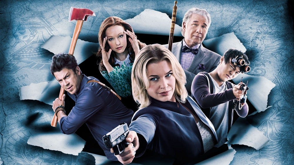 "All the main characters from ""The Librarians."""