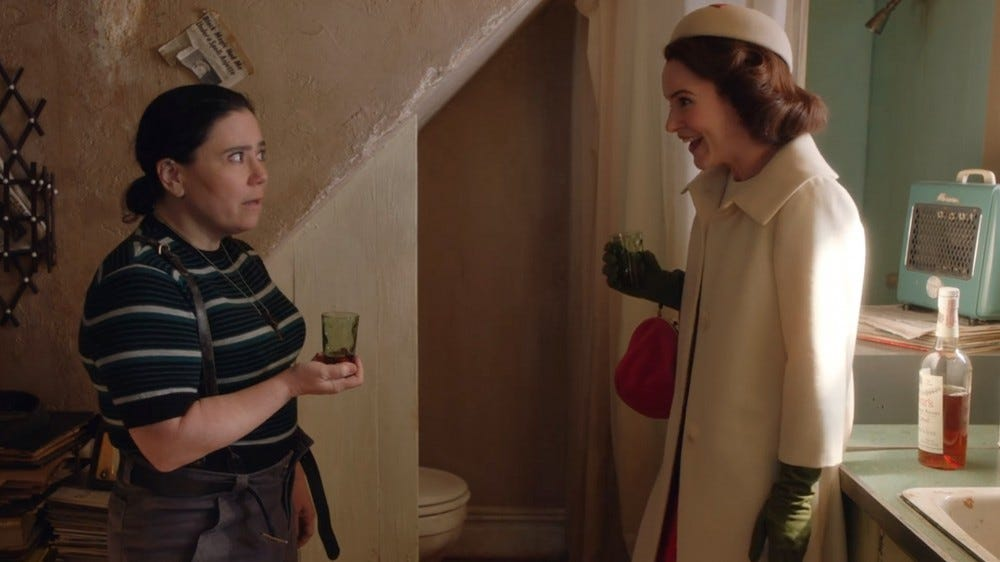 Alex Borstein and Rachel Brosnahan in The Marvelous Mrs. Maisel