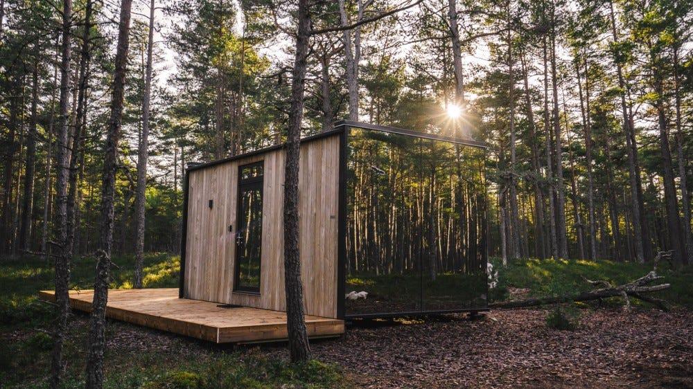 Ööd Office Room set up in a forest