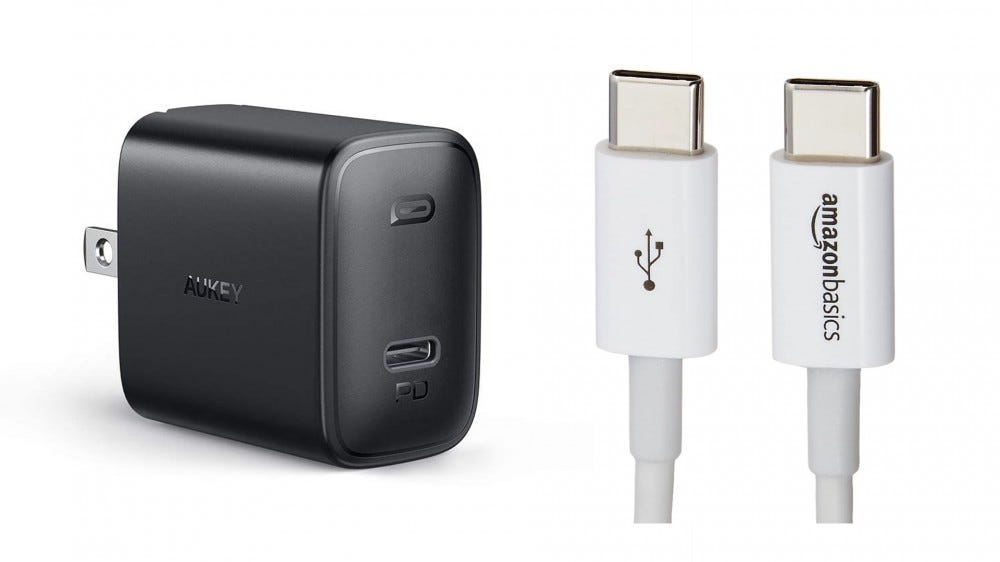 The Aukey 18-watt charger and an AmazonBasics USB-C cable.