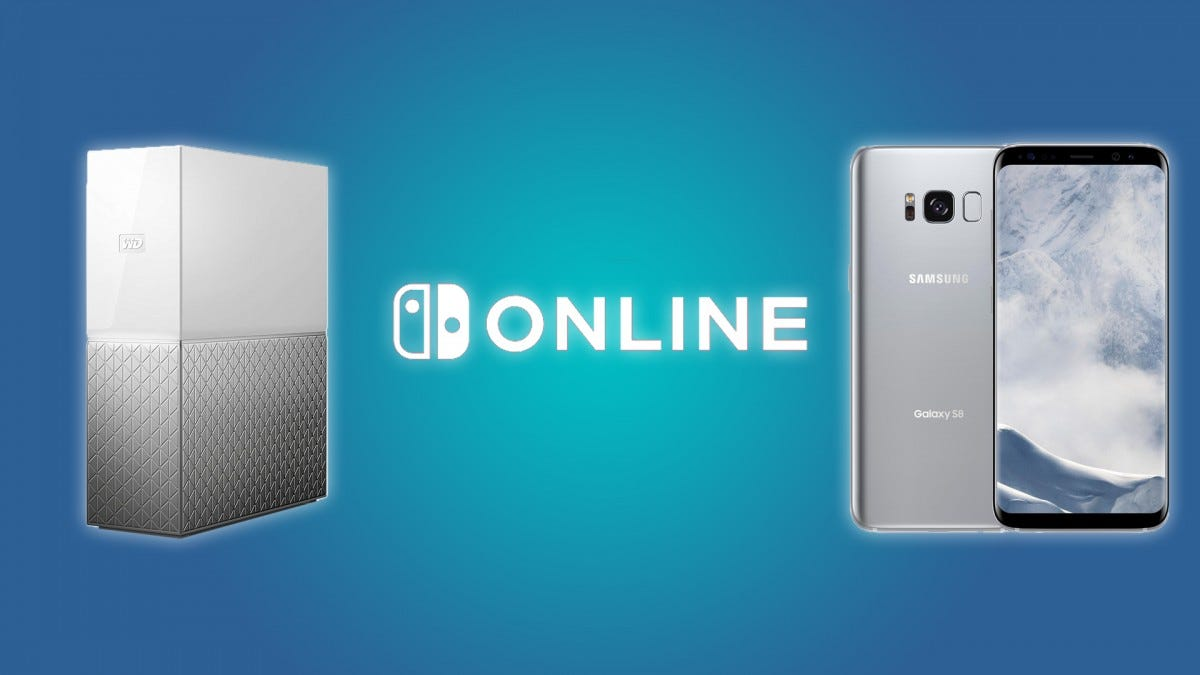The Nintendo Switch Online Logo, WD 3TB External Storage Device, and the Samsung Galaxy S8