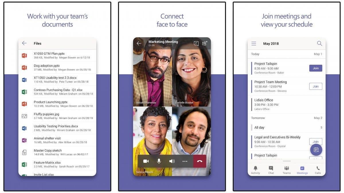 Screenshots of the Microsoft Teams app.