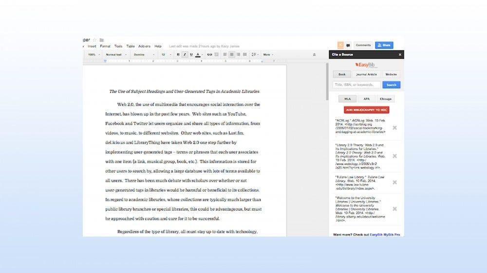 EasyBib add-on for creating citations