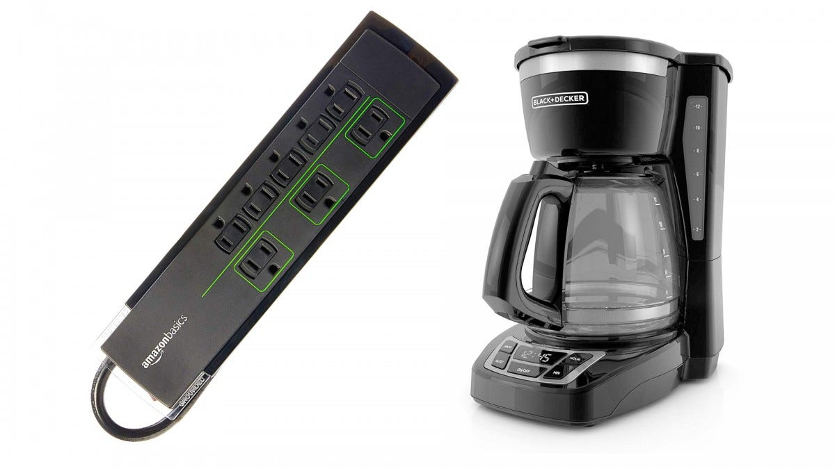 The AmazonBasics surge protector and the BLACK+DECKER coffeemaker.