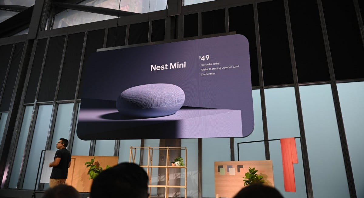 The Nest Mini at Google's event.