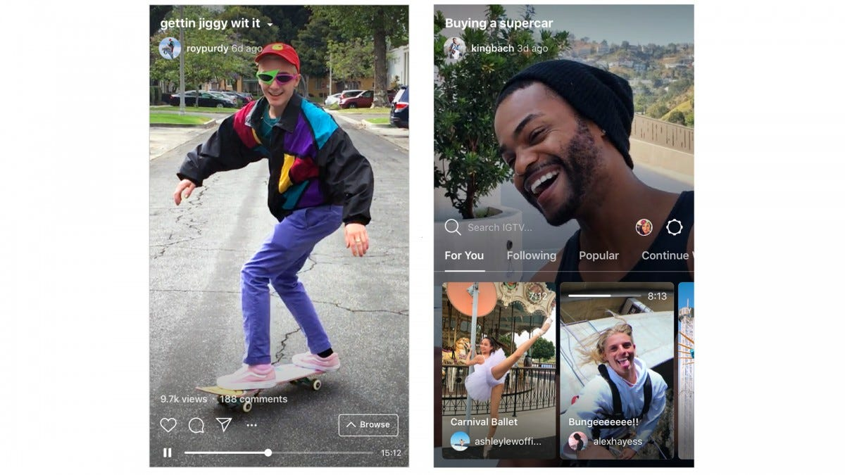Screenshots of the IGTV, Instagram's haven for vertical videos.