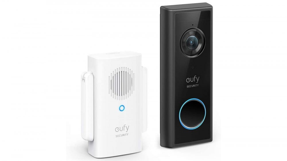 Eufy Video Doorbell and interior ringer, facing slightly to the right