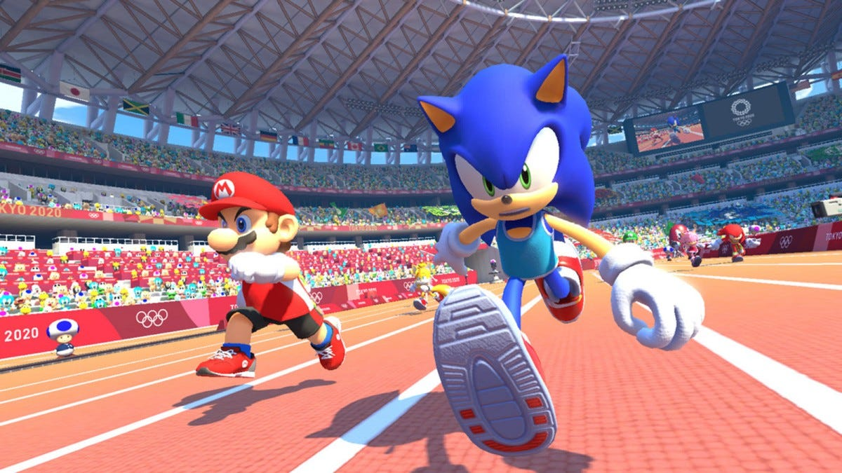Mario and Sonic running in a race.