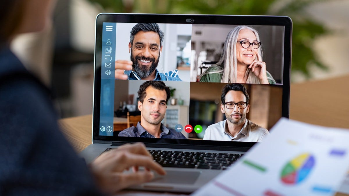 A group of businesspeople in a video chat.