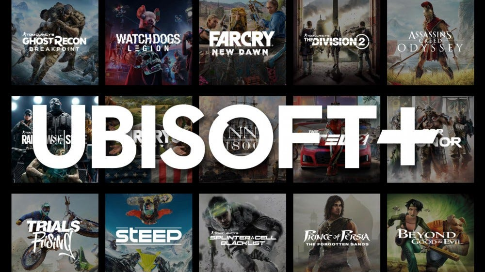 Ubisoft Plus logo with a handful games behind it