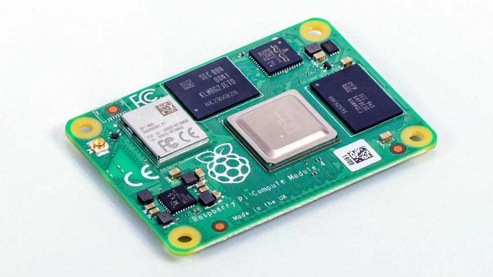A photo of the Raspbery Pi Copute Module 4.