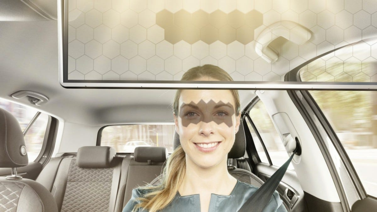 Bosch Virtual Visor sun visor inside of a car